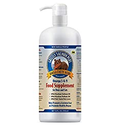 Grizzly Salmon Oil All-Natural Dog Food Supplement in Pump-Bottle Dispenser, 32 Ounces