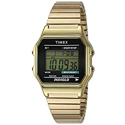 """Timex Men's T78677 """"Classics"""" Gold-Tone Digital Dress Watch with Expansion Band"""