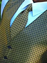 Tuxedo Vest and Tie in Gold Pattern (large 44-46 chest)