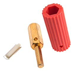 Forney 57904 Sure Grip Plug, Male Red Sleeve Fits Spitfire And Miller Welders
