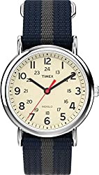 """Timex Unisex T2N654 """"Weekender"""" Watch with Blue and Gray Nylon Strap"""