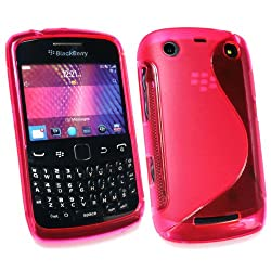 Kit Me Out USA TPU Gel Case for BlackBerry 9350 9360 9370 3G Curve – Hot Pink S Wave Pattern