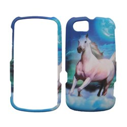 Motorola Pax / Admiral XT603 XT-603 Blue Sky with White Horse Animal Design Snap-On Hard Protective Cover Case Cell Phone