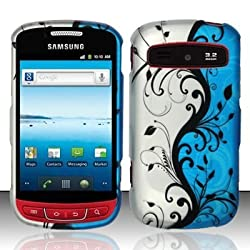 Blue Silver Vine Rubberized Hard Faceplate Cover Phone Case for Samsung Admire SCH-R720 Rookie Vitality