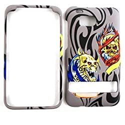RUBBER COATED HARD CASE FOR HTC THUNDERBOLT 6400 TEXTURED TWO SKULLS ON GRAY