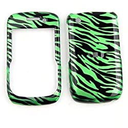 CELL PHONE CASE COVER FOR BLACKBERRY CURVE 8520 8530 9300 TRANS GREEN ZEBRA PRINT