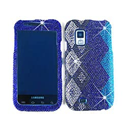Blue and Silver Diamond Bling Stones Snap on Cover Faceplate for Samsung Fascinate, Mesmerize, ShowTime i500