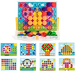 Button Mosaic Transperent Pegboard with 48 Buttons and 12 full colored pictures