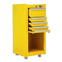 Viper Tool Storage V1804YWR 16-Inch 4-Drawer 18G Steel Rolling Tool/Salon Cart, Yellow