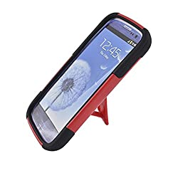 Eagle Cell PHSAMI9300YSTBKRD HypeKick Hybrid Protective Gummy TPU Case with Kickstand for Samsung Galaxy S3 – Retail Packaging – Black/Red