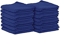 Cotton Auto-Mechanic Detailing Shop Towel-Rags - (14 X 14 inches, 100 Pack, Blue) Commercial Grade by Utopia Towel