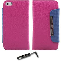 iPhone 5 Tpu Leather Case (Pink) + Universal Touch Screen Stylus Pen