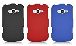 Samsung Galaxy Reverb M950 [Sprint, Virgin Mobile] Accessory Bundle Combo – 3 x Rubberized Hard Shell Cases (Black+Red+Blue)
