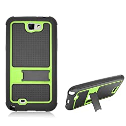 Aimo Wireless SAMNOTE2PCMXH017S Guerilla Armor Hybrid Case with Kickstand for Samsung Galaxy Note 2 N7100 – Retail Packaging – Black/Green