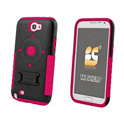 Beyond Cell Tri-Shield Case with Built-In Kickstand for Samsung Galaxy Note 2 – Retail Packaging – Black/Hot Pink