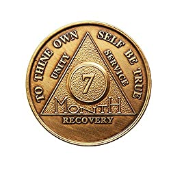 7 Month Bronze AA (Alcoholics Anonymous) – Sober / Sobriety / Birthday / Anniversary / Recovery / Medallion / Coin / Chip