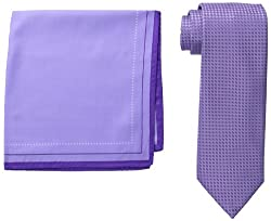 Steve Harvey Men's Mini Textured Herringbone Tie with Pocket Square, Lilac, One Size
