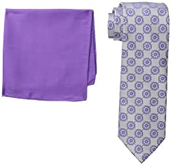 Steve Harvey Men's Medallion Pattern Tie with Pocket Square, Charcoal, One Size
