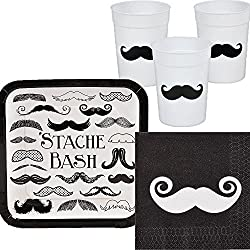 Mustache Bash Party Suplies Package Including Napkins, Plates, and Cups for 24 Guests