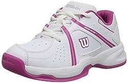 Wilson Envy JR Tennis Shoe (Little Kid/Big Kid), White/Fiesta Pink, 1.5 M US Little Kid