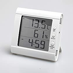 HITO Humidity/Indoor Outdoor Temperature Clock w/ Max and Min and Remote Probe (White)