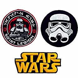 Set of 3 Starwars Mandalorian Emblem Uniform Costume Crew Movie Game Cartoon Comic Vest Jacket T Shirt Sew Iron on Patch. For Collection with Free Shipping By Botan