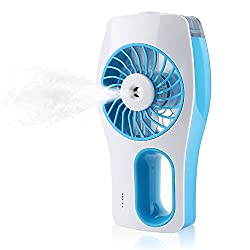 iEGrow Handheld Rechargeable Mini USB Fan with Personal Cooling Misting Humidifier for Home Office and Travel Color Blue